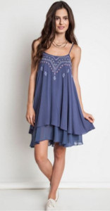 Embroidered Tank Dress in Dolphin Blue