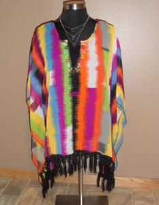 Multi Color Fringe Poncho
