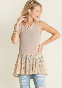Lace Bottom Tank