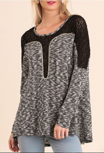 Marled Long Sleeve Top w/Crochet Detail