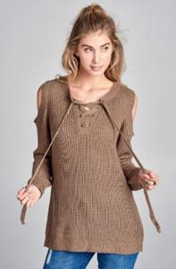 Cold Shoulder Knit Top w/Lace Up Neckline