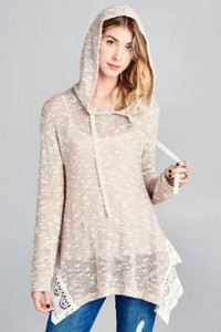 Knit Tunic Top w/Hood