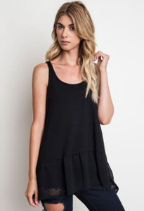 Scoop Neck Layering Tank w/Chiffon Hem
