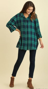 Emerald Mix Plaid Top