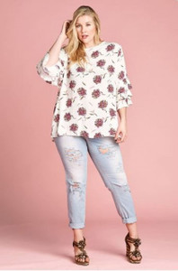 Floral Print Top w/ruffled sleeve