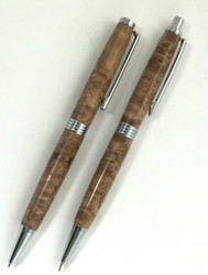 maple burl pen and pencil set