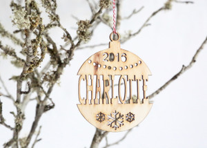 A Personalised Name Christmas ball/bauble plywood tree decoration