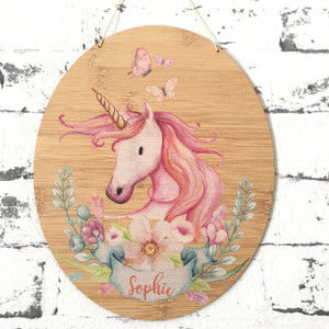 A Personalised watercolour unicorn bamboo plywood wall hanging