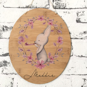 Bunny - Personalised watercolour bamboo plywood wall hanging