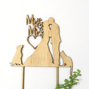 Mr & Mrs silhouette with 1 dog and 1 cat - Engagement Anniversary- Wood Cake Topper / wooden topper
