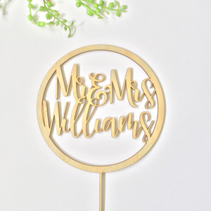 Personalised - Circle with Mr & Mrs surname - birthday  - Personalised Name Wood cake topper birthday decoration