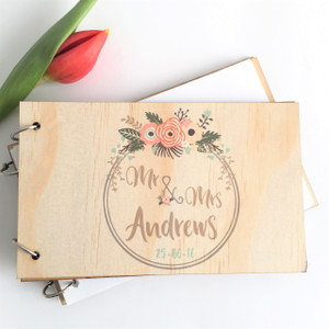 Wedding guest book - personalised with wreath (full page)