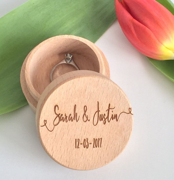 Personalised wooden wedding ring box with flowing names