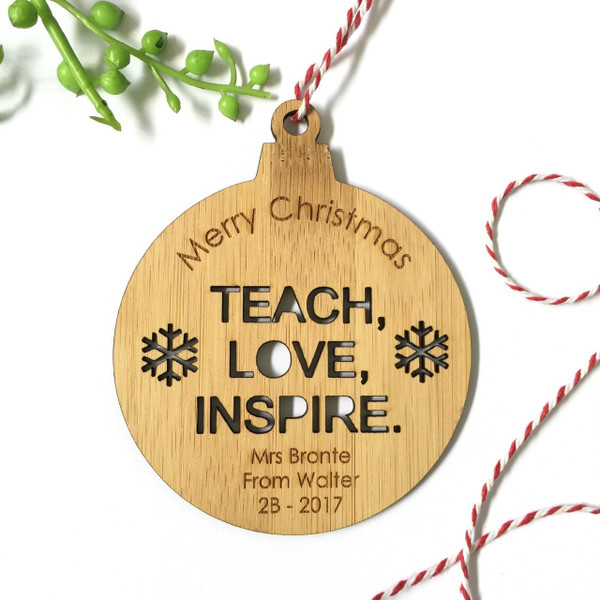 Teach, Love Inspire - Personalised Single front image snowman Christmas tree decoration