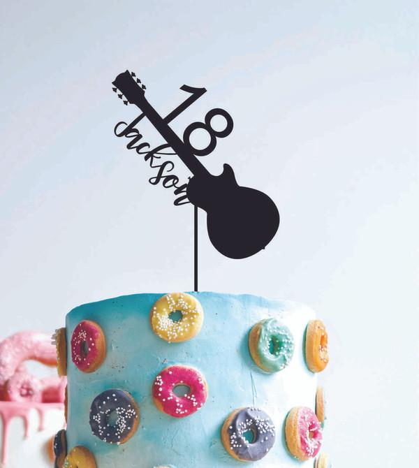 18 Guitar Music- Custom name - birthday  - Personalised Name Wood cake topper birthday decoration