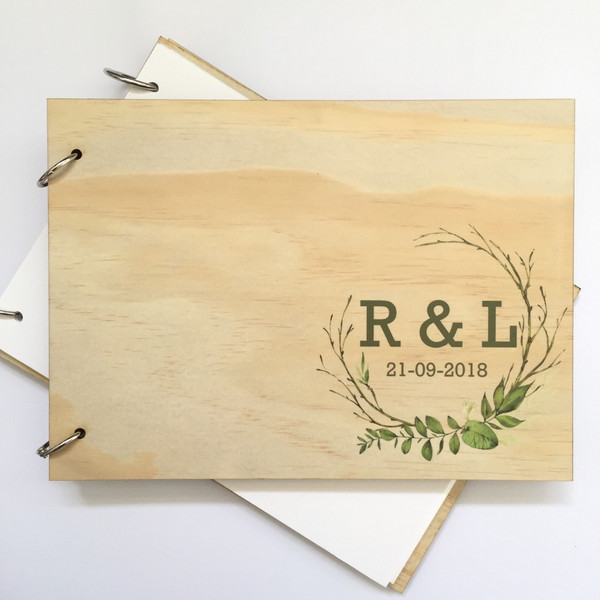 Wedding guest book - personalised with wreath (corner)
