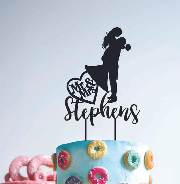 A Wedding Couple Silhouette - Mr & Mrs Surname