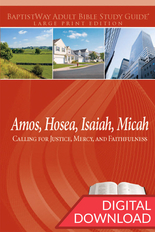 Digital large print Bible study on Amos, Hosea, Isaiah, and Micah. PDF; 254 pages.