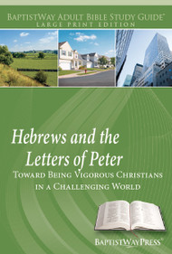 Large print edition of a Bible study on Hebrews (7 lessons) and a Bible study of 1-2 Peter (6 lessons) with devotional Bible commentary and reflection questions. Paperback; 212 pages.