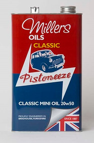 Millers Oils CLASSIC MINI OIL 20w50.  Mineral based engine oil specifically developed to incorporate EP levels of gear protection for use in combined engine and gearbox applications. Also suitable for some classic motorcycles preferably non-roller bearing big end type where the clutch runs in engine oil.