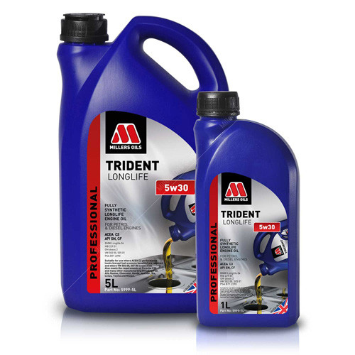 Millers Oils TRIDENT LONGLIFE 5w30 Fully Synthetic Engine Oil for Professional