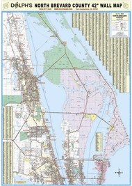 "North Brevard County, FL 42"" Wall Map Rail Mounted"