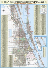 "South Brevard County, FL  42"" Wall Map Rail Mounted"