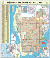 "Cape Coral, FL 42"" Wall Map Rail Mounted"
