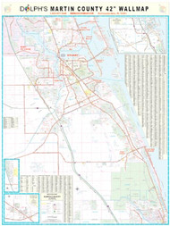 "Martin County, FL 42"" Wall Map Rail Mounted"