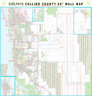 "Collier County, FL 60"" Wall Map Rail Mounted"