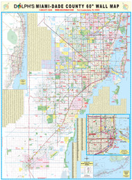 "Miami-Dade County, FL 60"" Wall Map Rail Mounted"
