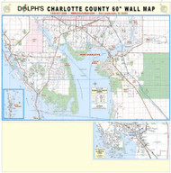 "Charlotte County, FL 60"" Wall Map Rail Mounted"