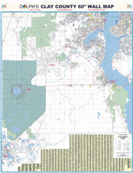 """Clay County, FL 60"""" Wall Map Rail Mounted"""