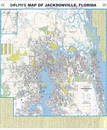 Jacksonville FL Wall Map Paper Only Dolph Map LLC - Jacksonville map