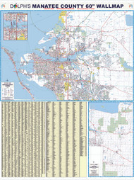 "Manatee County, FL 60"" Wall Map Rail Mounted"