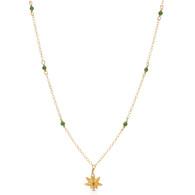 tiny gemstone studded marijuana necklace