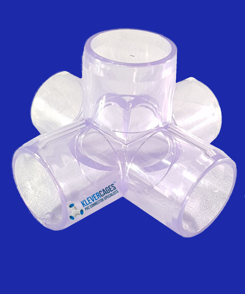 5 way Clear PVC connector 20mm from Klever Cages