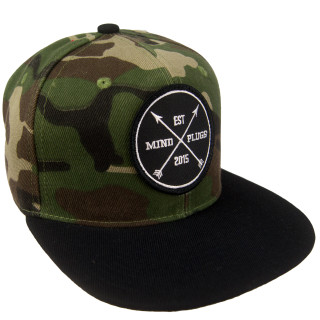 Camo x Black Brim Est Patch Snapback  | Structured Cap With A Flat Bill. Adjustable Closure For A Superior Fit | Shop Mind Plugs Streetwear | Free Shipping for Orders Over $50