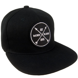 Black x Black Brim Est Patch Snapback  | Structured Cap With A Flat Bill. Adjustable Closure For A Superior Fit | Shop Mind Plugs Streetwear | Free Shipping on orders Over 50$