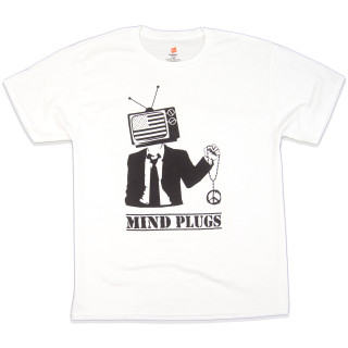 Telepeace | This Graphic T-Shirt Features A Business Man With A Flag TV Head Holding a Peace Medalion | Tagless 100% Ringspun Cotton | Shop MP Streetwear