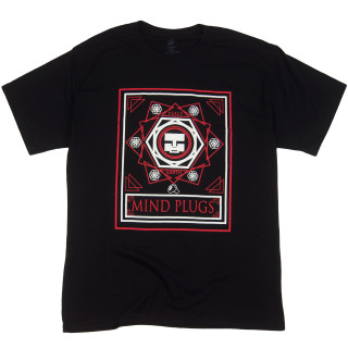 This World Peace black graphic t-shirt features a powerful message using red and white imagery.