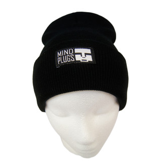 Black x Black Beanie | Mind Plugs Est Patch Applied on the front of a fold over cuff | Shop Mind Plugs Streetwear | Free Shipping On Orders Over $50