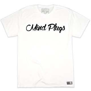 Original Mind Plugs White Graphic T-Shirt Featuring The First Cursive Logo Ever Printed | Tagless 100% Ringspun Cotton | Shop Mind Plugs Streetwear