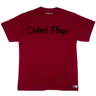 Original Mind Plugs Maroon Graphic T-Shirt Featuring The First Cursive Logo Ever Printed | Tagless 100% Ringspun Cotton | Shop Mind Plugs Streetwear
