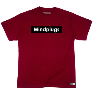 Classic Mind Plugs Maroon Graphic T-Shirt Featuring A White Font On A Black Rectangle Background | Tagless 100% Ringspun Cotton | Shop Mind Plugs Streetwear