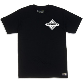 Geo Emblem| This Black Graphic T-Shirt Features A Clean Geo Emblem On The Chest And Back | Tagless 100% Ringspun Cotton | Shop Mind Plugs Streetwear