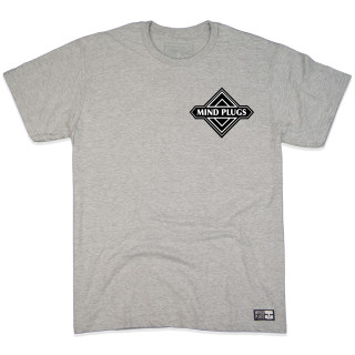 Geo Emblem| This Heather Grey Graphic T-Shirt Features A Clean Geo Emblem On The Chest And Back  | Tagless 100% Ringspun Cotton | Shop Mind Plugs Streetwear