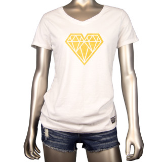 Heart Of Gold | This White V Neck Womens Graphic T-Shirt Features A Gold Geo Heart Across The Chest | Tagless 100% Ringspun Cotton | Shop Mind Plugs Streetwear