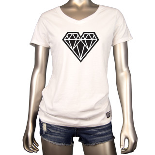 Geo Heart | This White V Neck Womens Graphic T-Shirt Features A Bold Black Geo Heart Across The Chest | Tagless 100% Ringspun Cotton | Shop Mind Plugs Streetwear