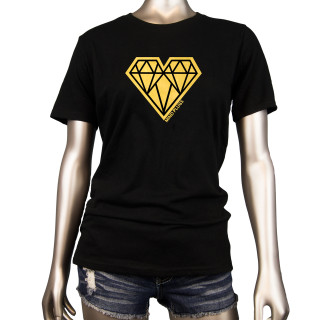 Geo Heart Bold Gold | This Black Womens Graphic T-Shirt Features A Bold Gold Geo Heart Across The Chest | Tagless 100% Ringspun Cotton | Shop Mind Plugs Streetwear